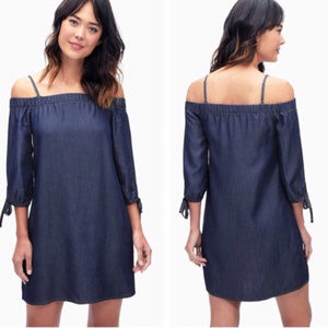New Splendid Chambray Cold-shoulder Shift Dress